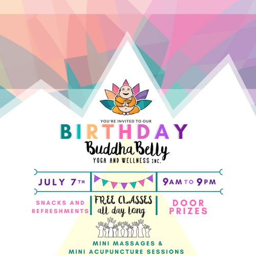 Buddha Belly Birthday - Buddha Belly Yoga and Wellness Edmonton Yoga Studio Massage Reiki Aromatherapy Fitness Metaphysical Store