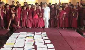Juan Ruiz Naupari with Children Monks in a Pneuma Breathwork in Gaden Shatse Monastery