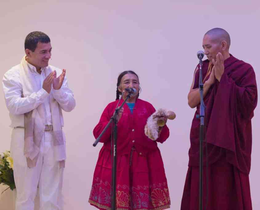 Juan Ruiz, Dona Maria Apaza and Geshe Tsultrim in Day of Inner Peace in Pneuma Institute