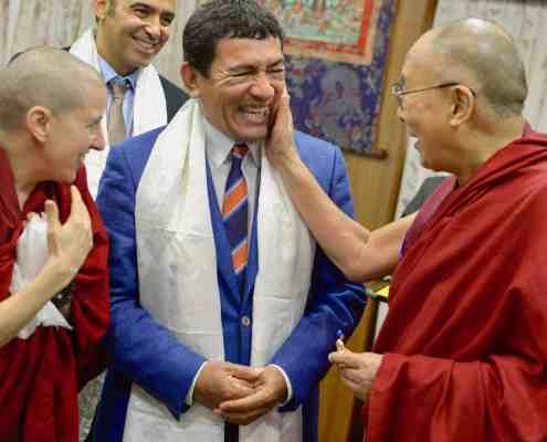 Juan Ruiz Naupari with His holiness the 14th Dalai Lama in Dharamsala