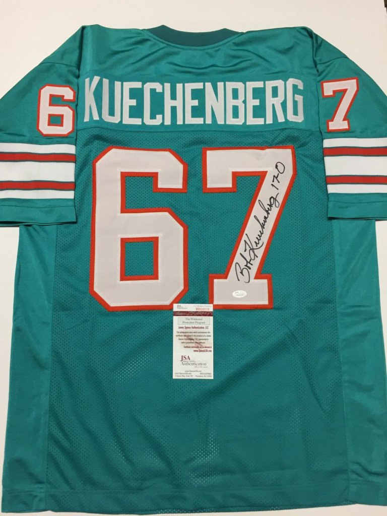 sale retailer e63e6 1172a Bob Kuechenberg Signed Miami Dolphins teal green Jersey » Budd's  Collectibles