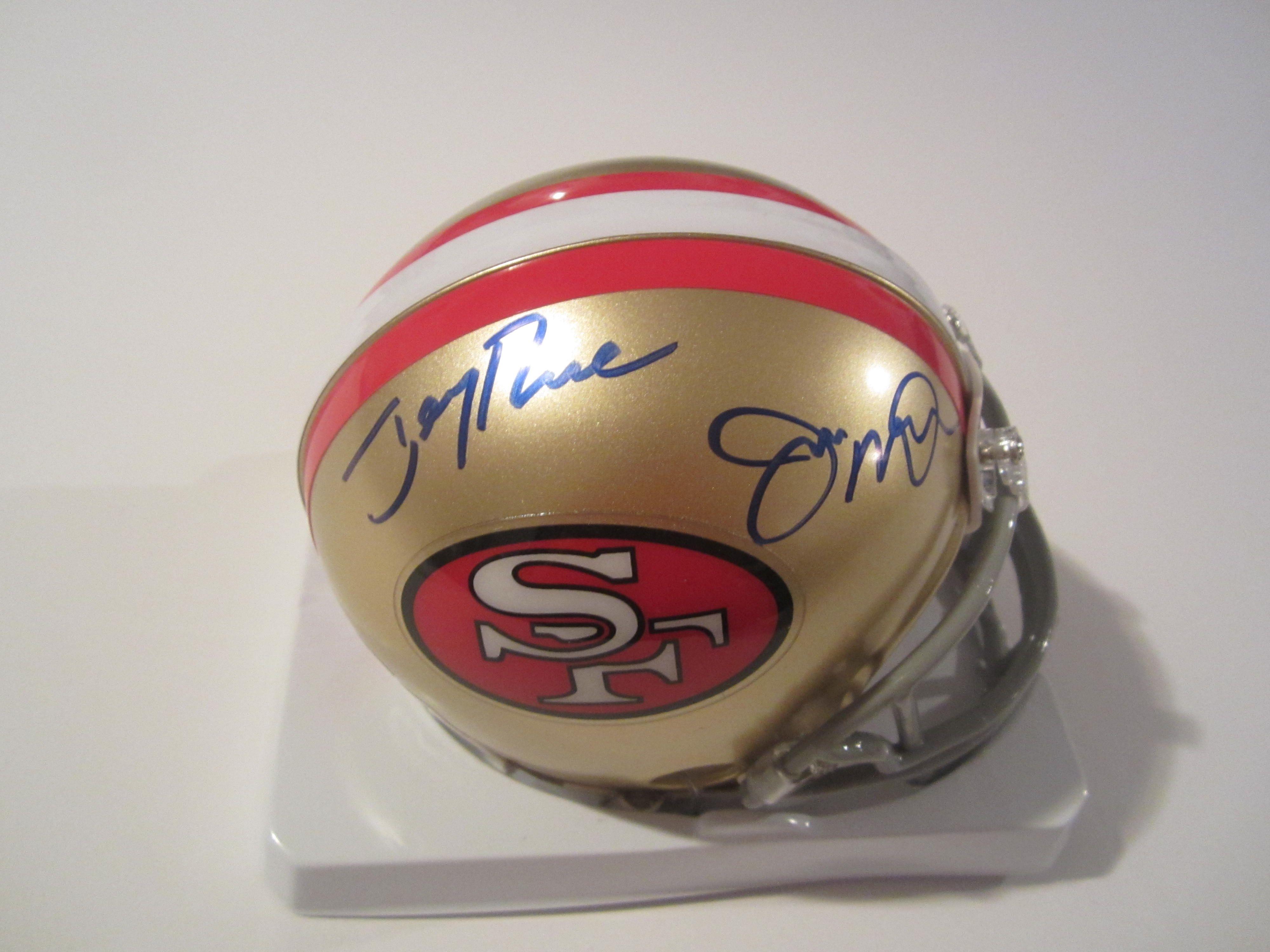 c9e75f54111 Jerry Rice   Joe Montana Signed San Francisco 49ers Mini Helmet ...