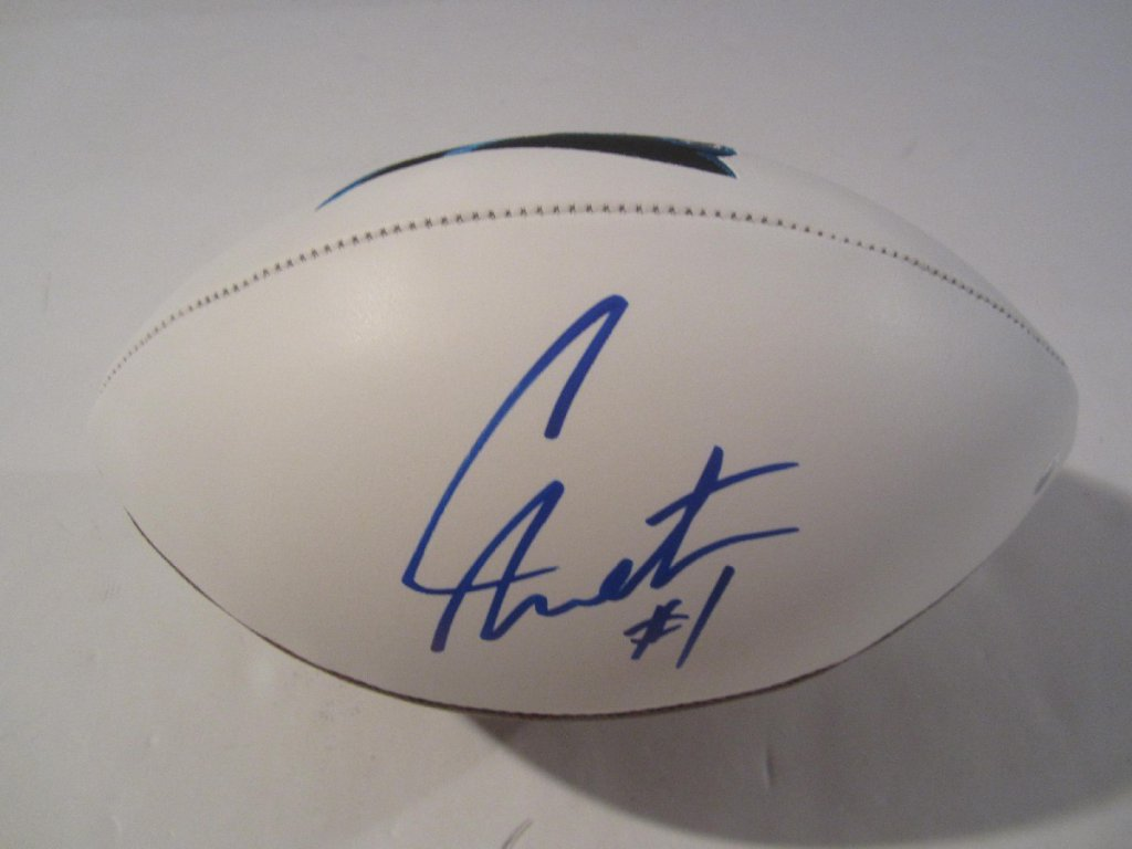 newest 75bd6 6ae33 Cam Newton Carolina Panthers signed full size logo football