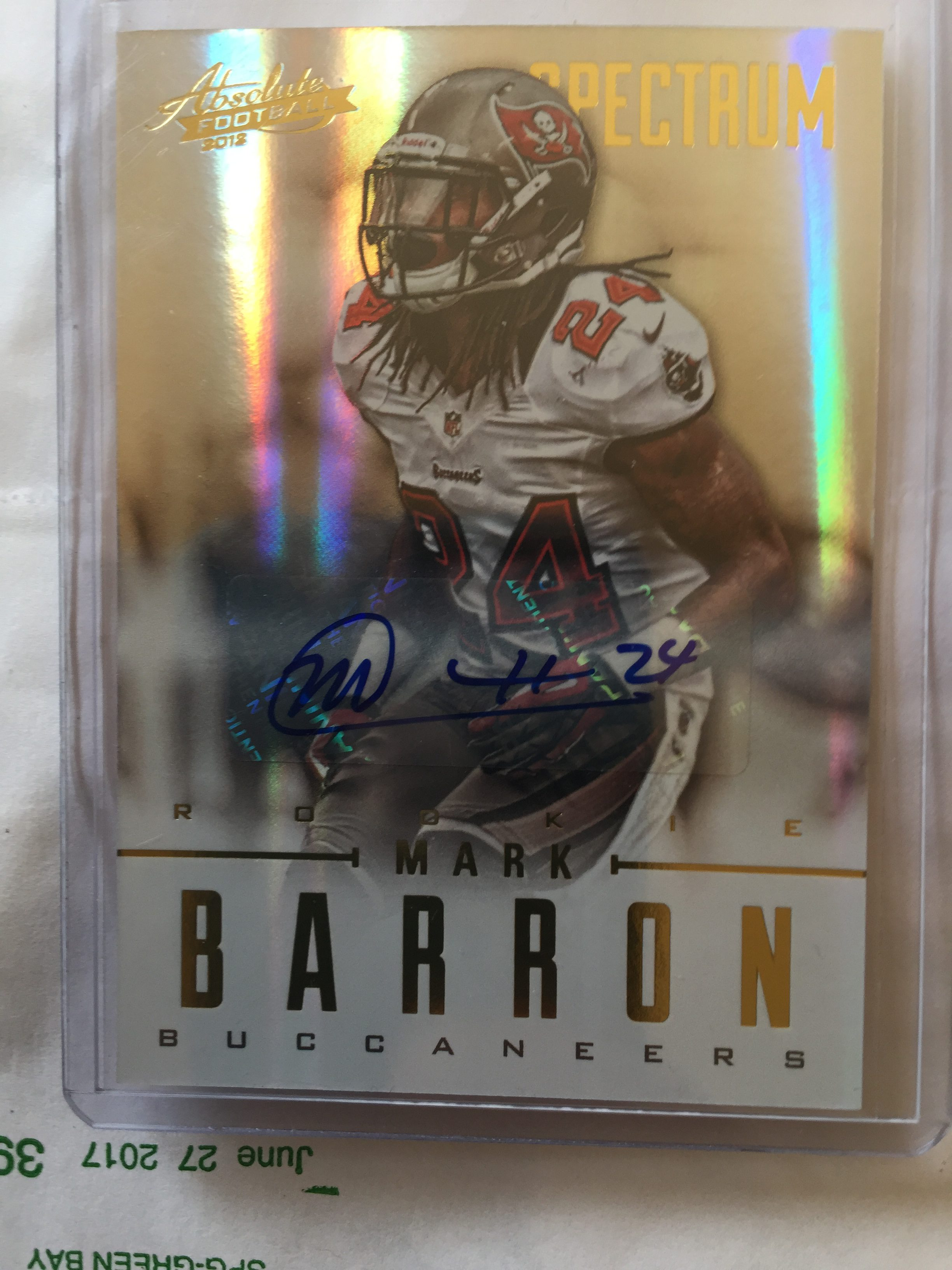 newest a3528 c1c9e Mark Barron Tampa Bay Buccaneers Autographed Rookie Card
