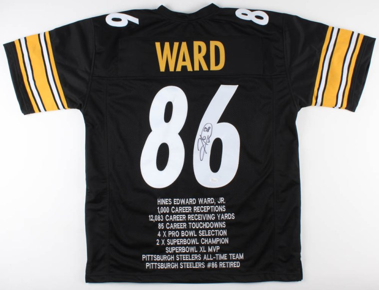 55943895e Hines Ward Signed Pittsburgh Steelers Career Highlight Stat Jersey