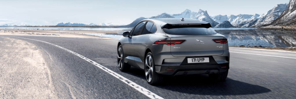 Jaguar I-PACE from the back, on the road