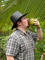Buddy drinking from a Green Coconut!