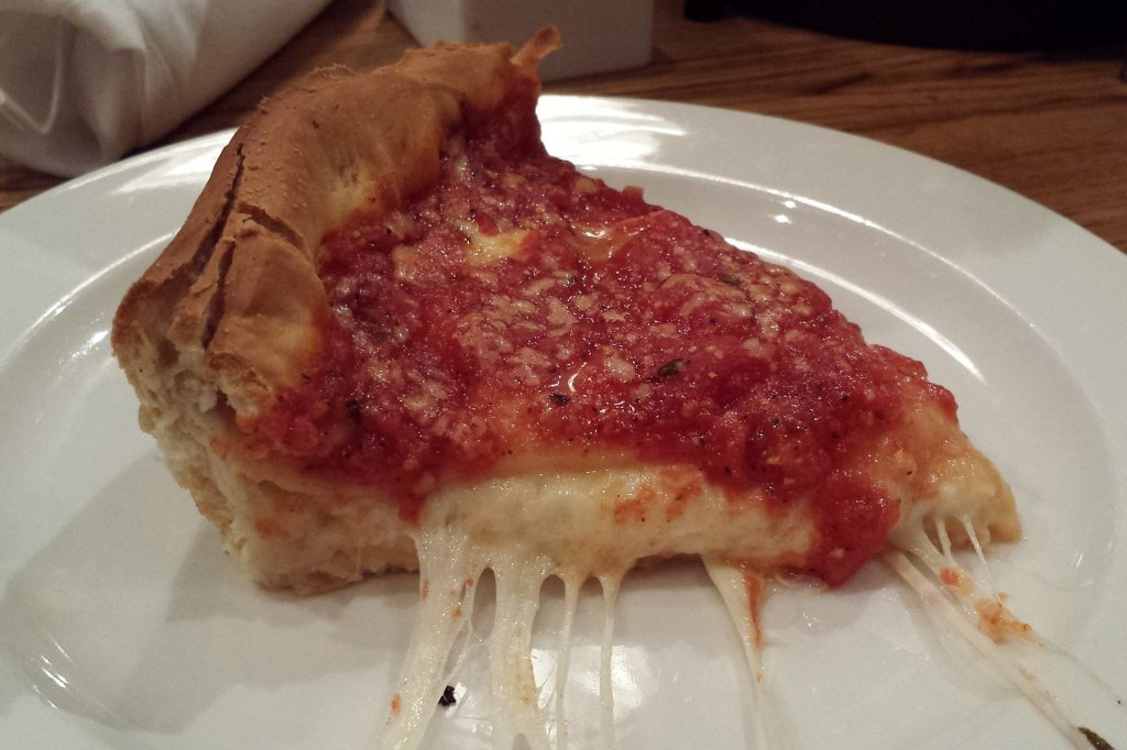 Slice of cheese pizza at the Magnificent Mile location of Giordano's