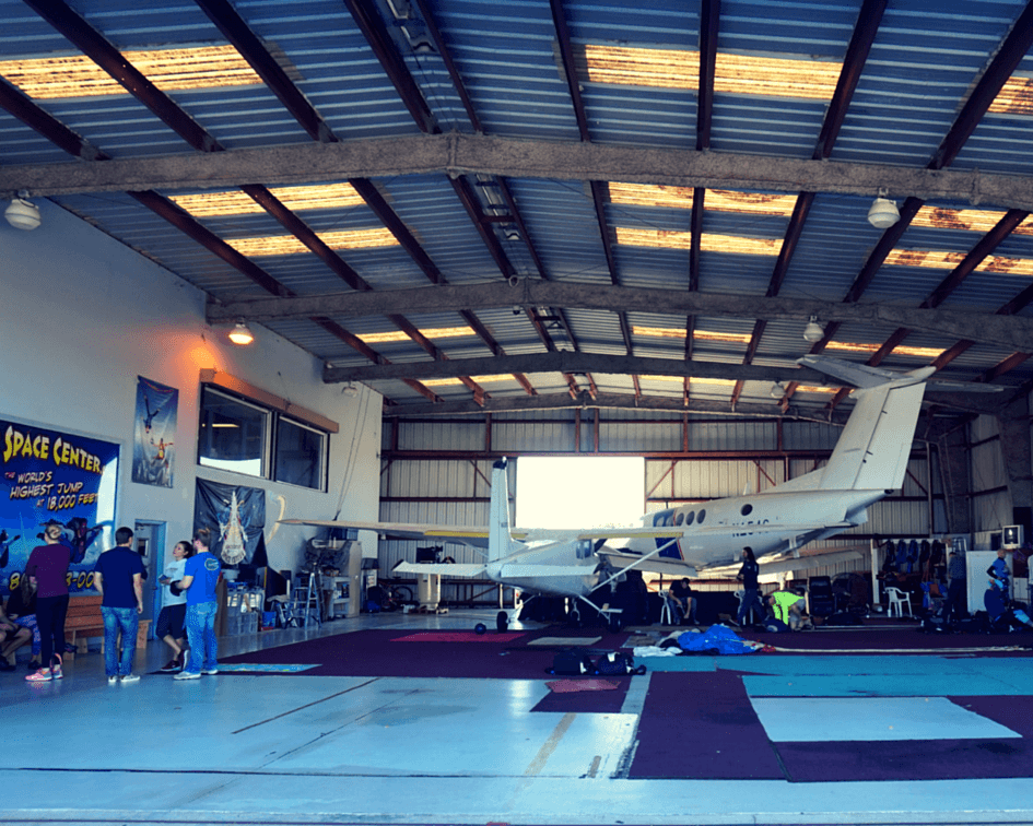 The hanger in Titusville where we met our instructors and learned about our equipment