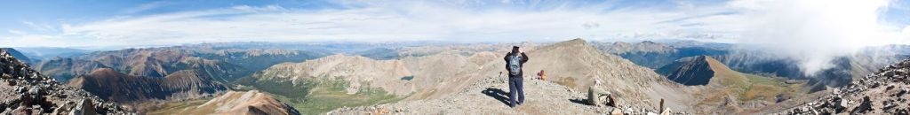 Panoramic view from the top of Torreys Peak