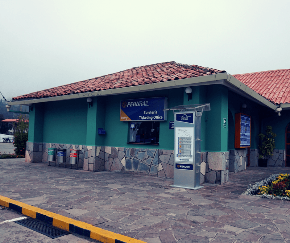 The outside of the Poroy train station in Cusco