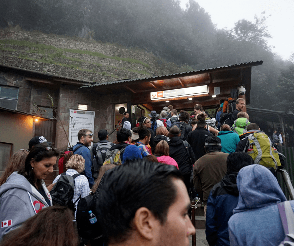 The lines in front of the entrance To Machu Picchu