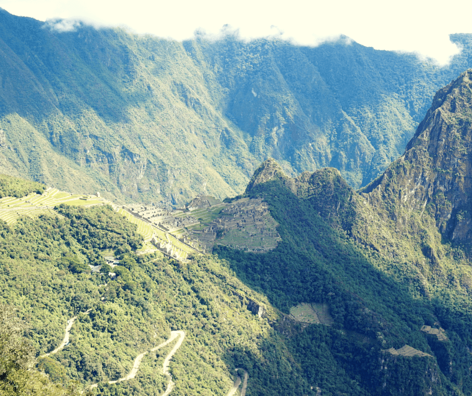view looking down on Machu Picchu from the Sun Gate