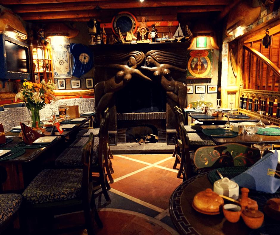 Inside Indio Feliz restaurant in Aguas Calientes