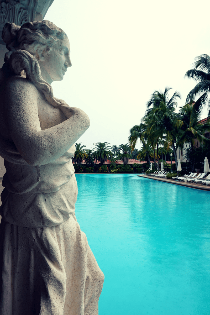 Beautiful sculptures surround the pool at the Biltmore Hotel Miami