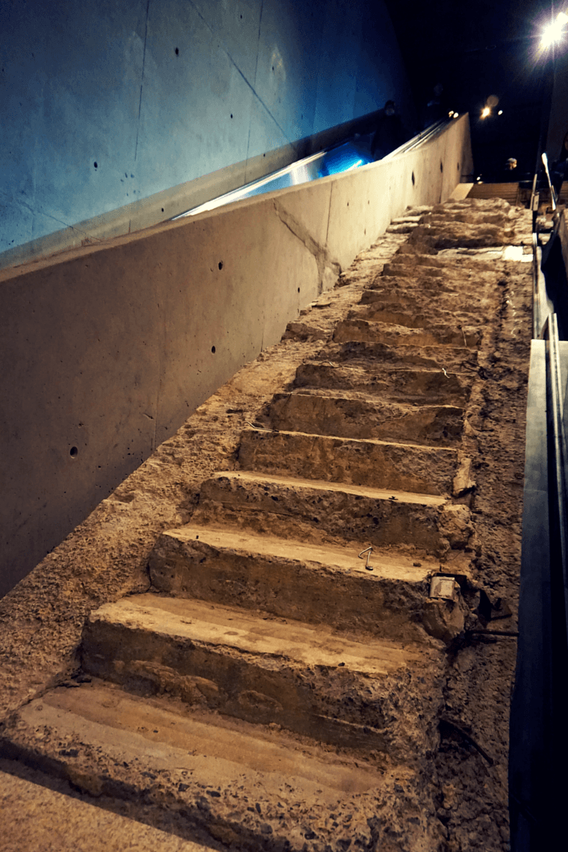 "Known as the ""Survivor's Stairs"" these stairs and an adjacent escalator had remained undamaged and allowed hundreds to flee to safety."