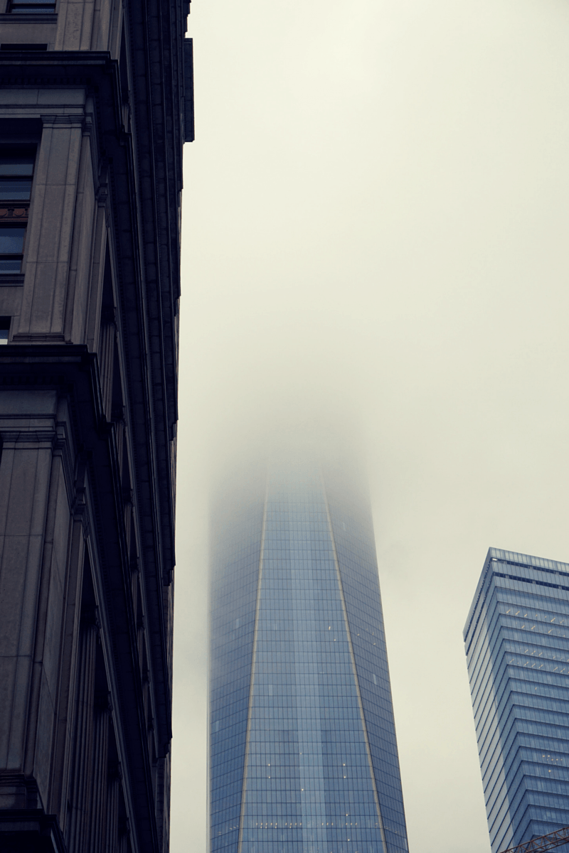 The clouds covering the new Freedom Tower reflected my mood as we walked towards the September 11 Memorial
