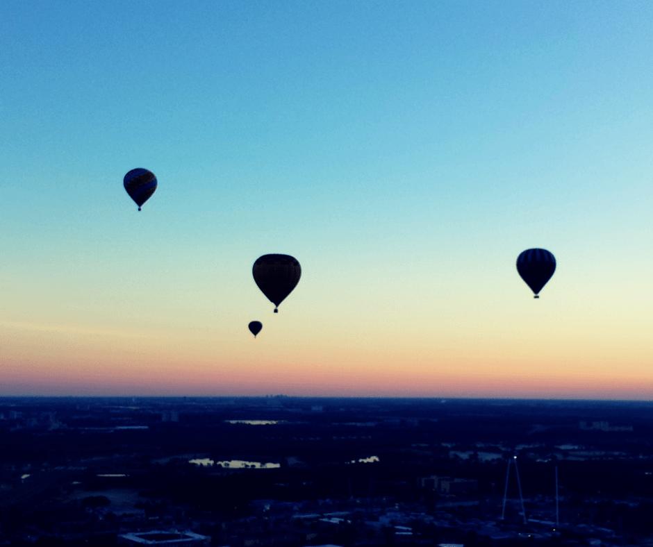 Hot air balloons above central Florida