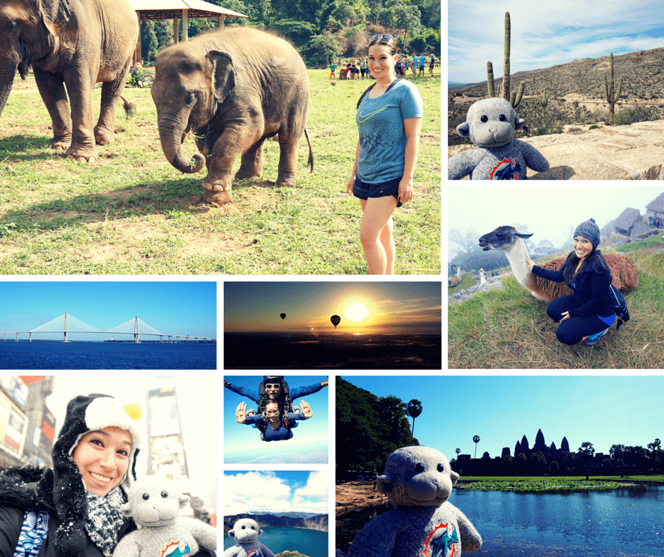 A baby elephant at Elephant Nature Park in Cambodia, Buddy in Arizona, hot air balloons over Central Florida, bridges in Charleston, Vicky with a llama in Machu Picchu, Vicky and Buddy in Time Square, skydiving in Titusville, Buddy at Angkor Wat