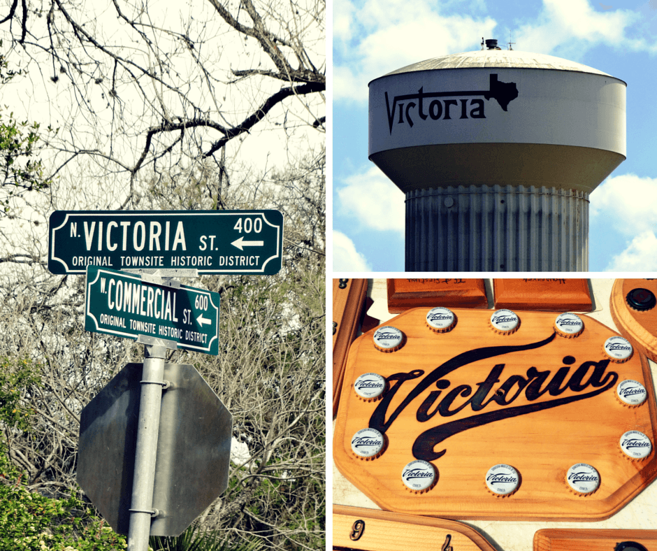 Victoria Street, Victoria water tower, and artwork from the farmers market in Victoria Texas