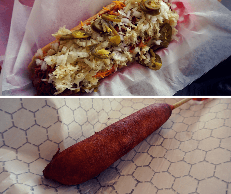 Big Foot Dog with chili, cheese, sauerkraut, and bell peppers, and a hand-dipped corn dog