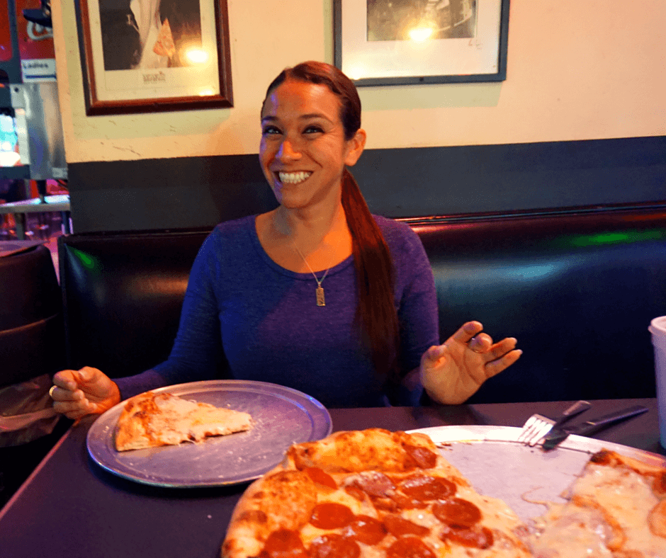 eating pizza in Tallahassee