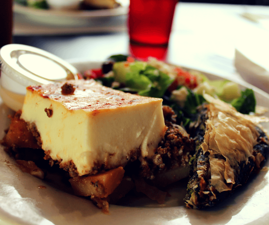 spinach pie, moussaka and Greek salad from Dontee's Diner with Taste History Culinary Tours