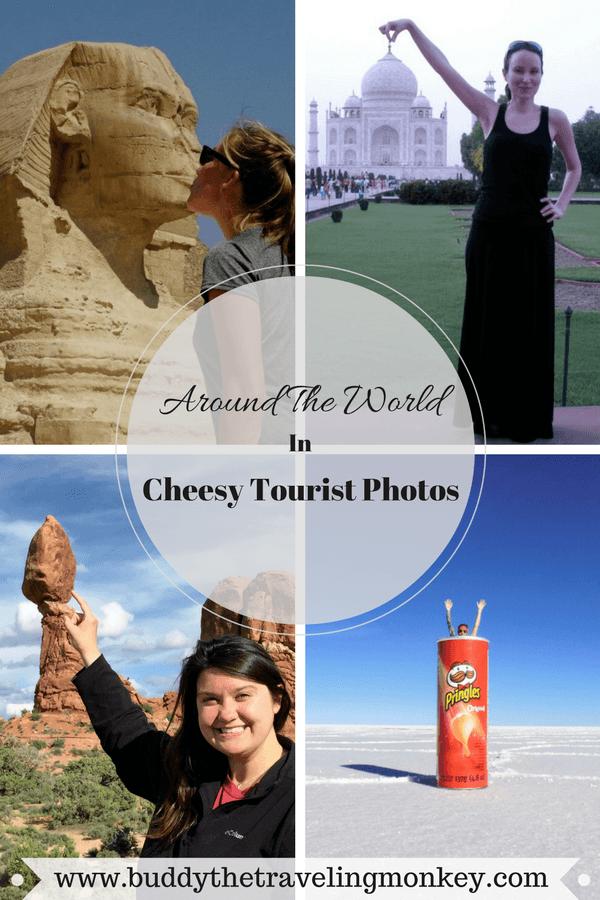 Pinterest pin for Cheesy Tourist Photos around the world