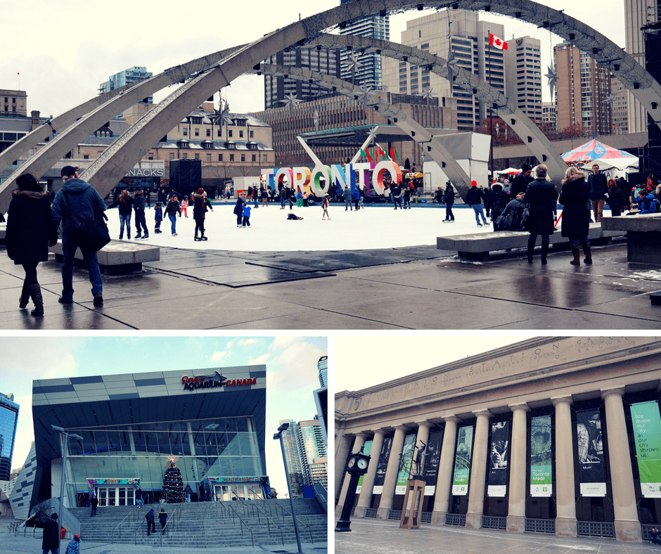 Nathan Phillips Square and Toronto sign, Ripley's Aquarium Canada, Union Station Toronto