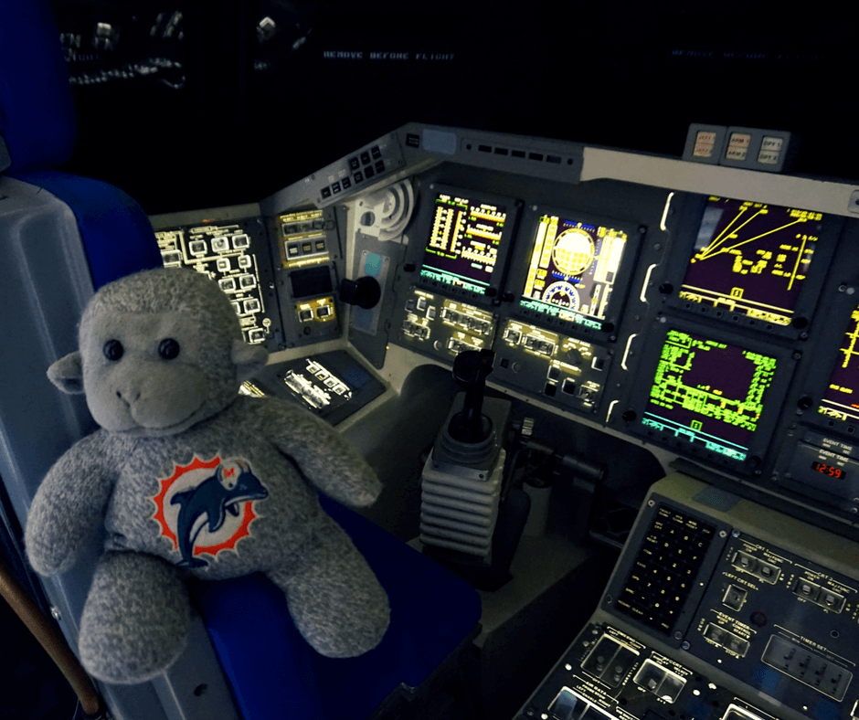 Buddy sitting inside Independence Plaza at Space Center Houston