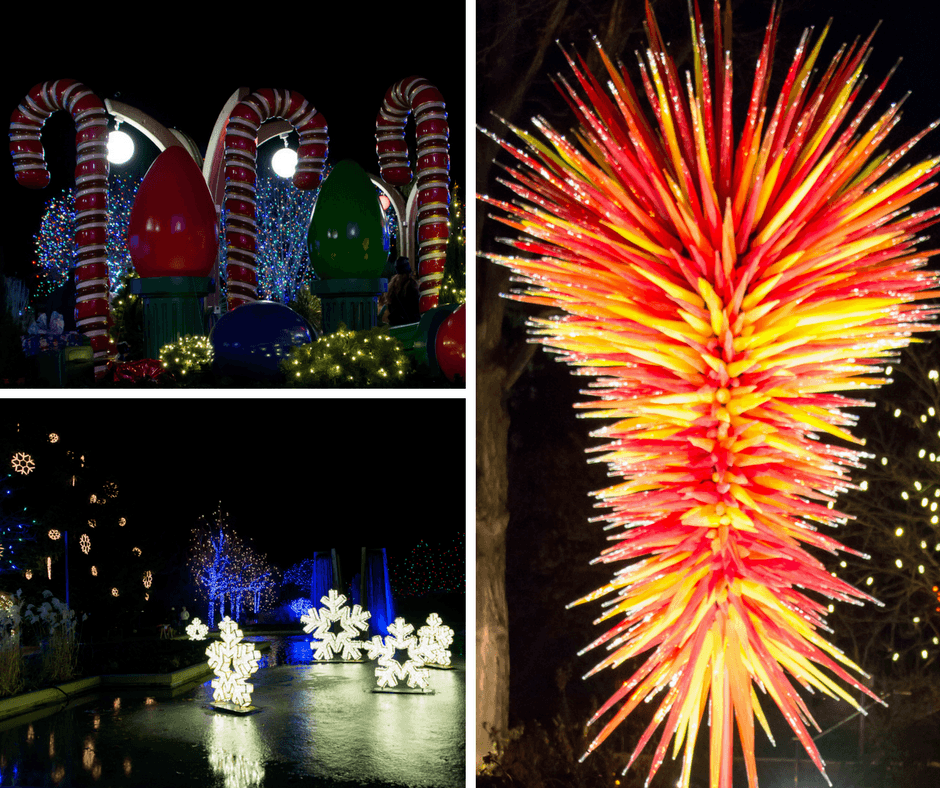 Colorful lights, snowflakes, candy canes at the Denver Botanic Gardens
