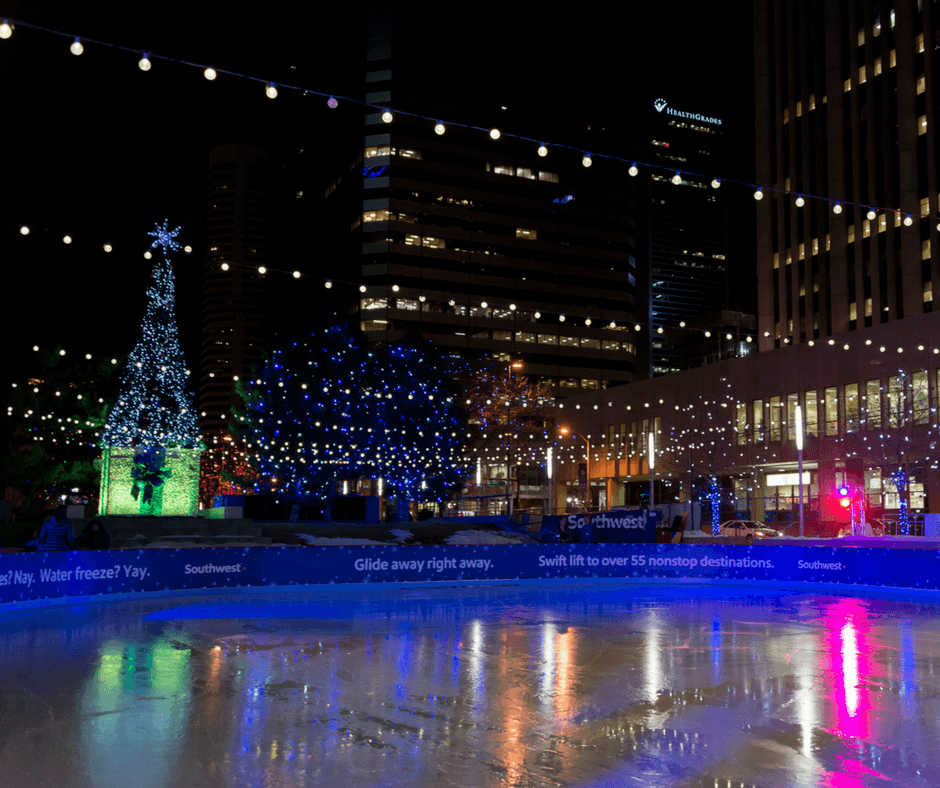 The ice skating rink near The Daniels & Fisher Clock Tower