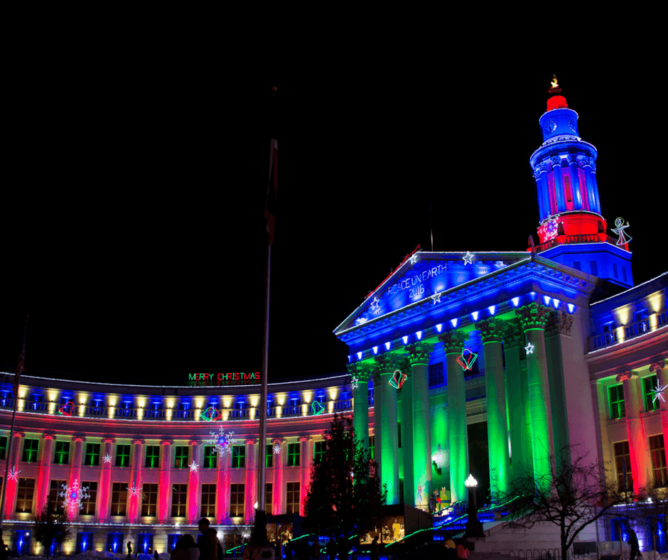 Denver City And County Building Lit Up In Red And Green Holiday Lights