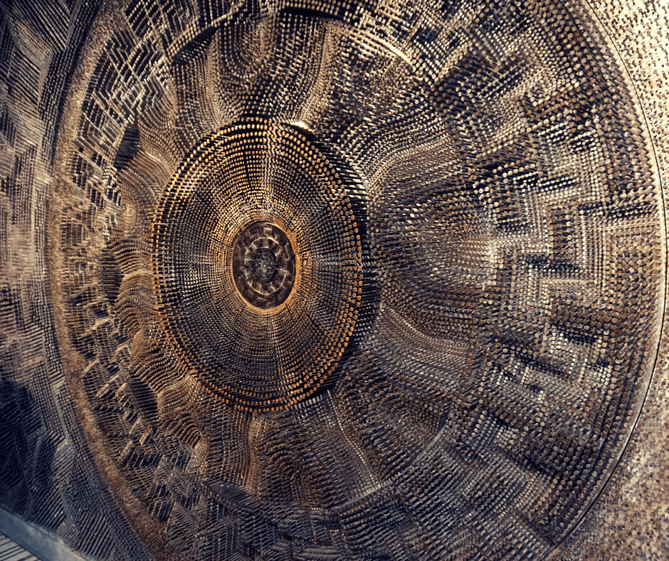 Mural by David Partridge with 100,000 nails called Metropolis on the wall of the lobby of Toronto's City Hall