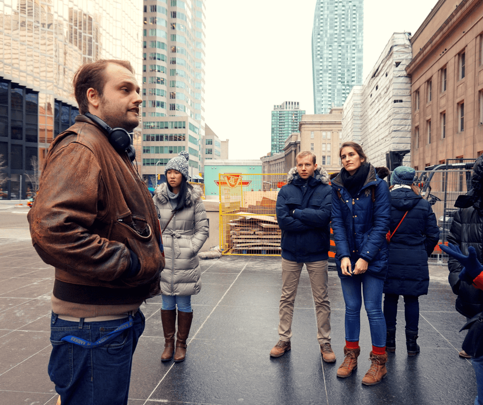 Our guide telling us about Toronto