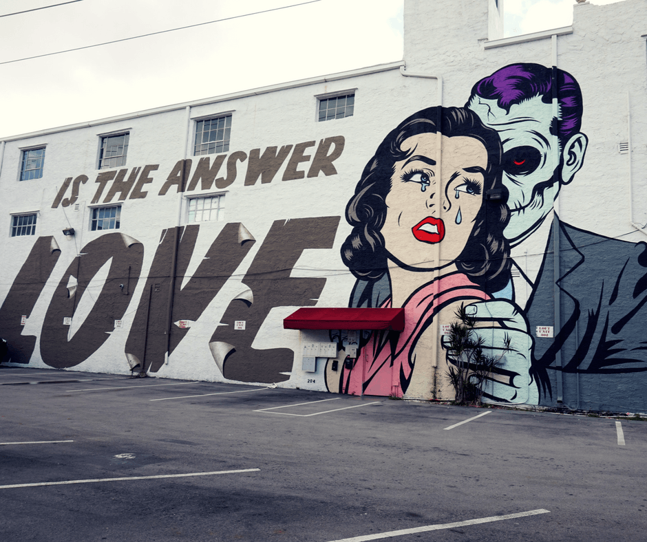 """Is the answer love"" mural by DFace in Wynwood"