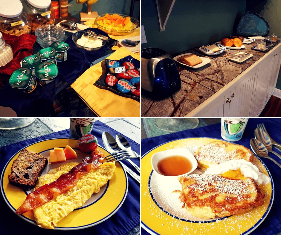 Breakfast at Mango Inn, french toast, omelette