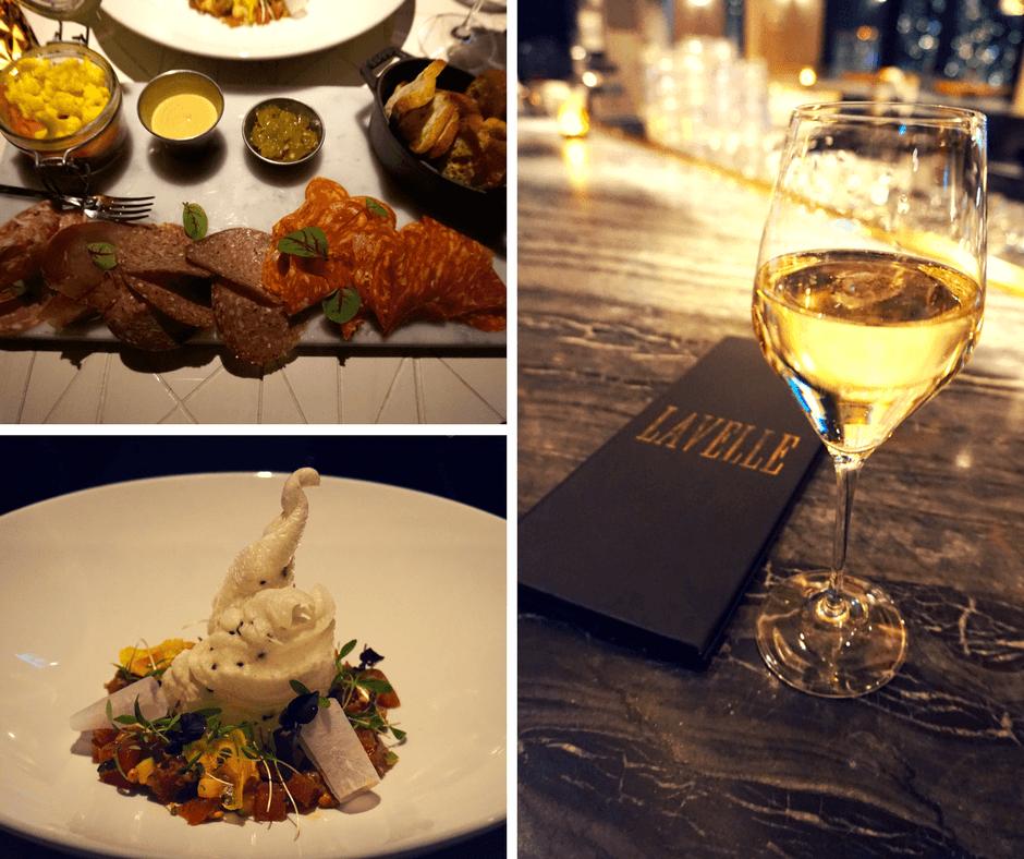 Charcuterie board, wine, and tuna tartare from Lavelle