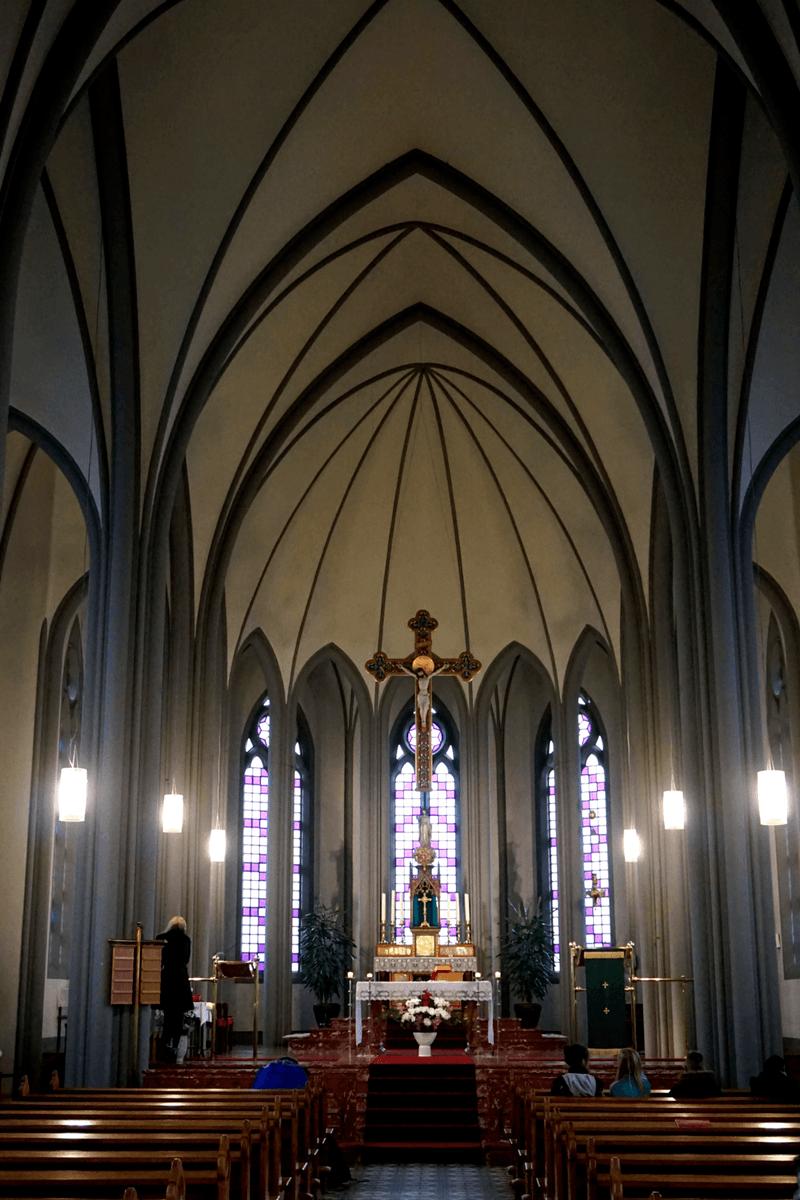 Inside Landakotskirkja church in Reykjavik