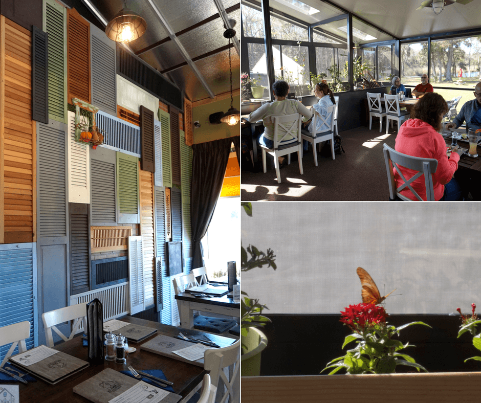 Inside and outside seating and butterfly garden at The Greenhouse Bistro & Market