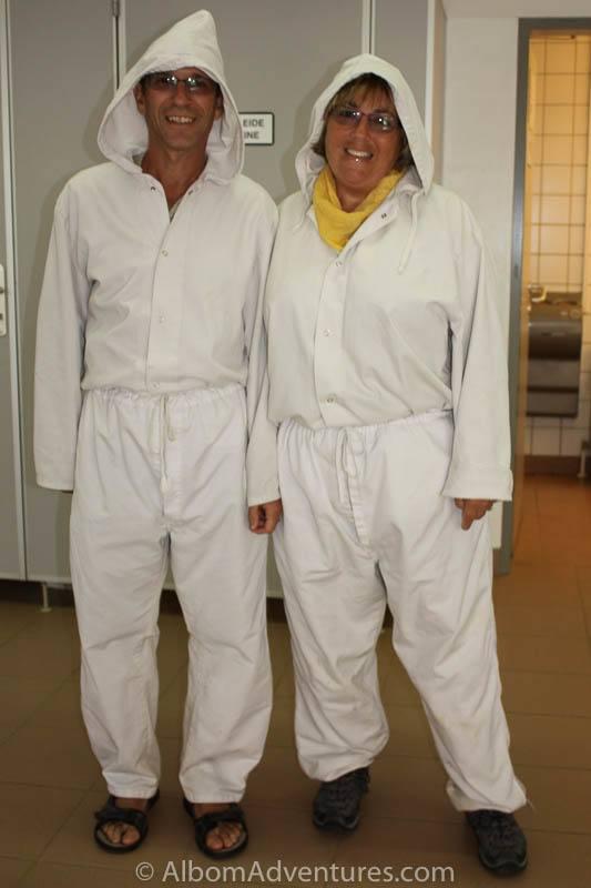 Rhonda and Jeff Albom ready to enter a salt mine in Austria