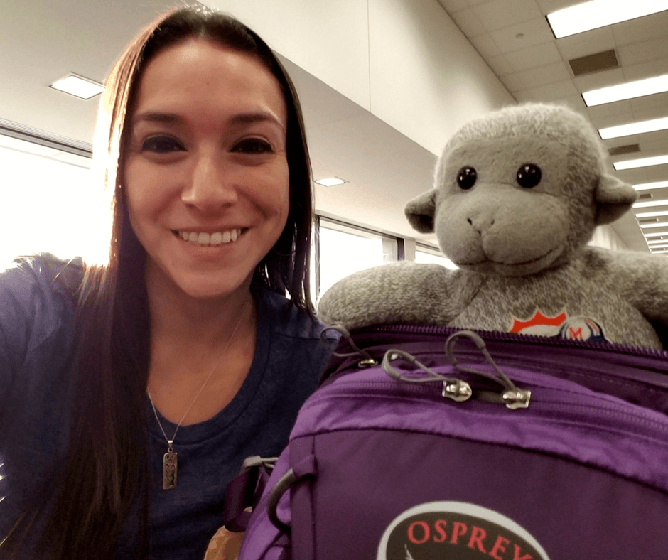 At the airport with Osprey Celeste backpack one of our Our Carry-On Travel Essentials