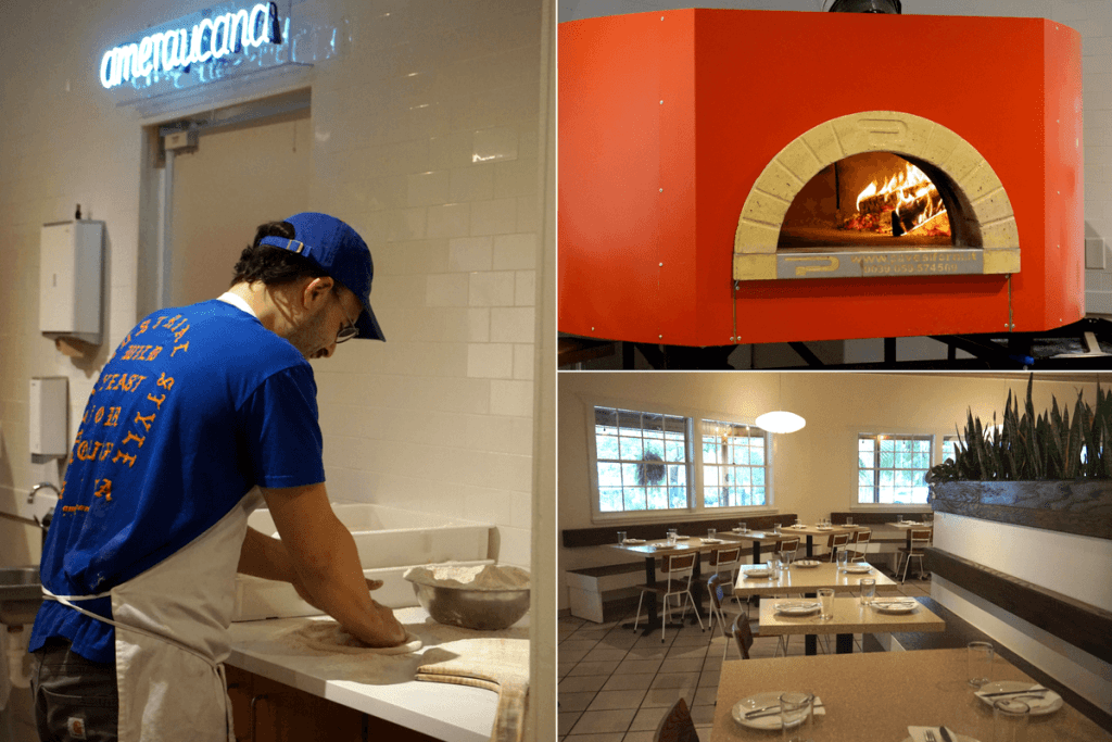 Inside Ameraucana pizzeria, wood fired stove