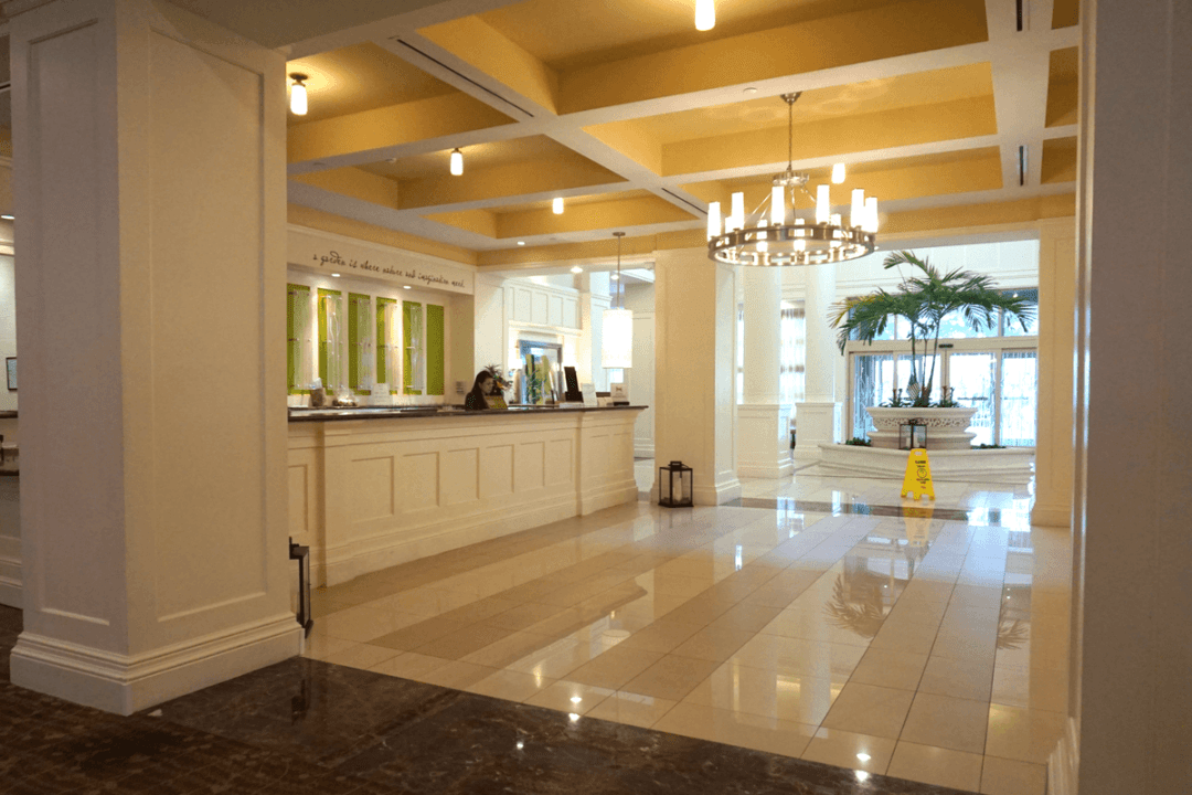 The lobby inside Hilton Garden Inn Palm Beach Gardens