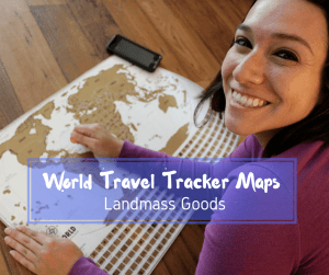Track your travels with this fun World Travel Tracker Map by Landmass Goods. It's a great way to inspire others and fuel your own wanderlust.