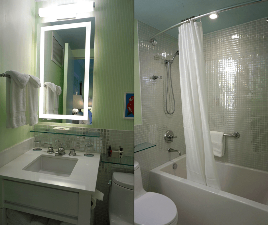 Our bathroom at the Colony Hotel