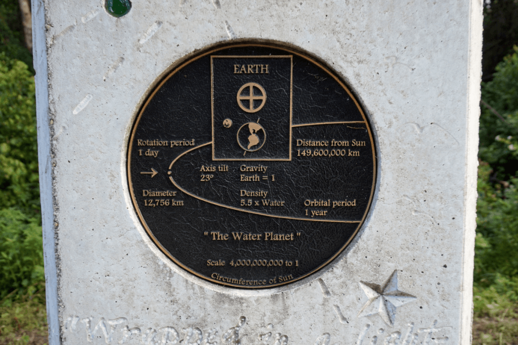 Information plaque on Earth monument at Gainesville Solar Walk