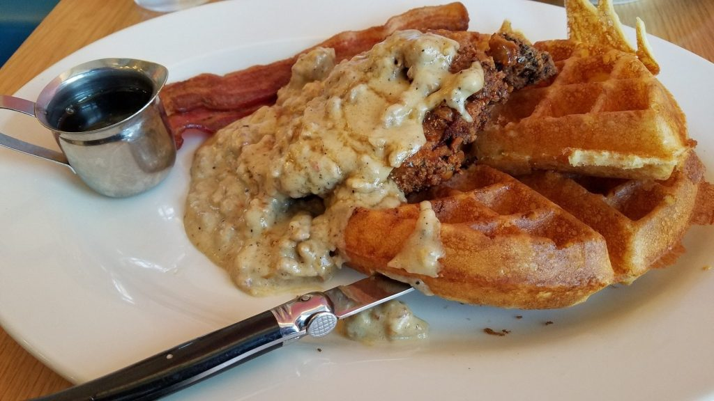 Chicken and waffles at Bacon Social House