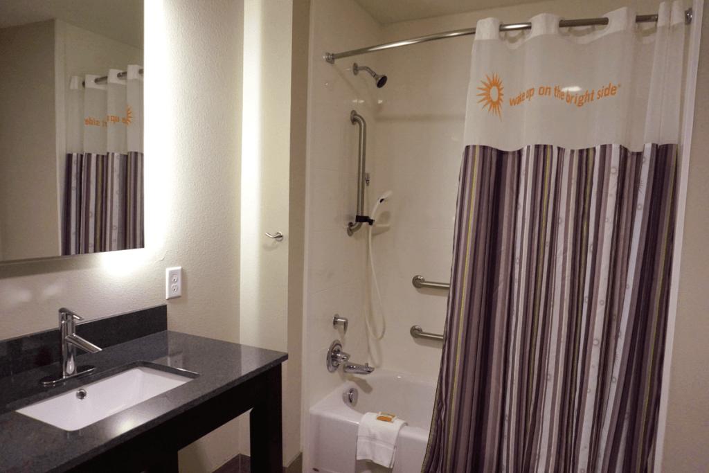 Our bathroom at the La Quinta Memphis Downtown