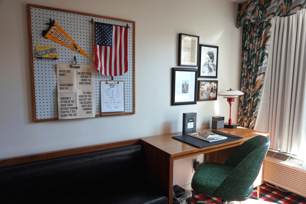 College-themed work area in our Graduate Lincoln room